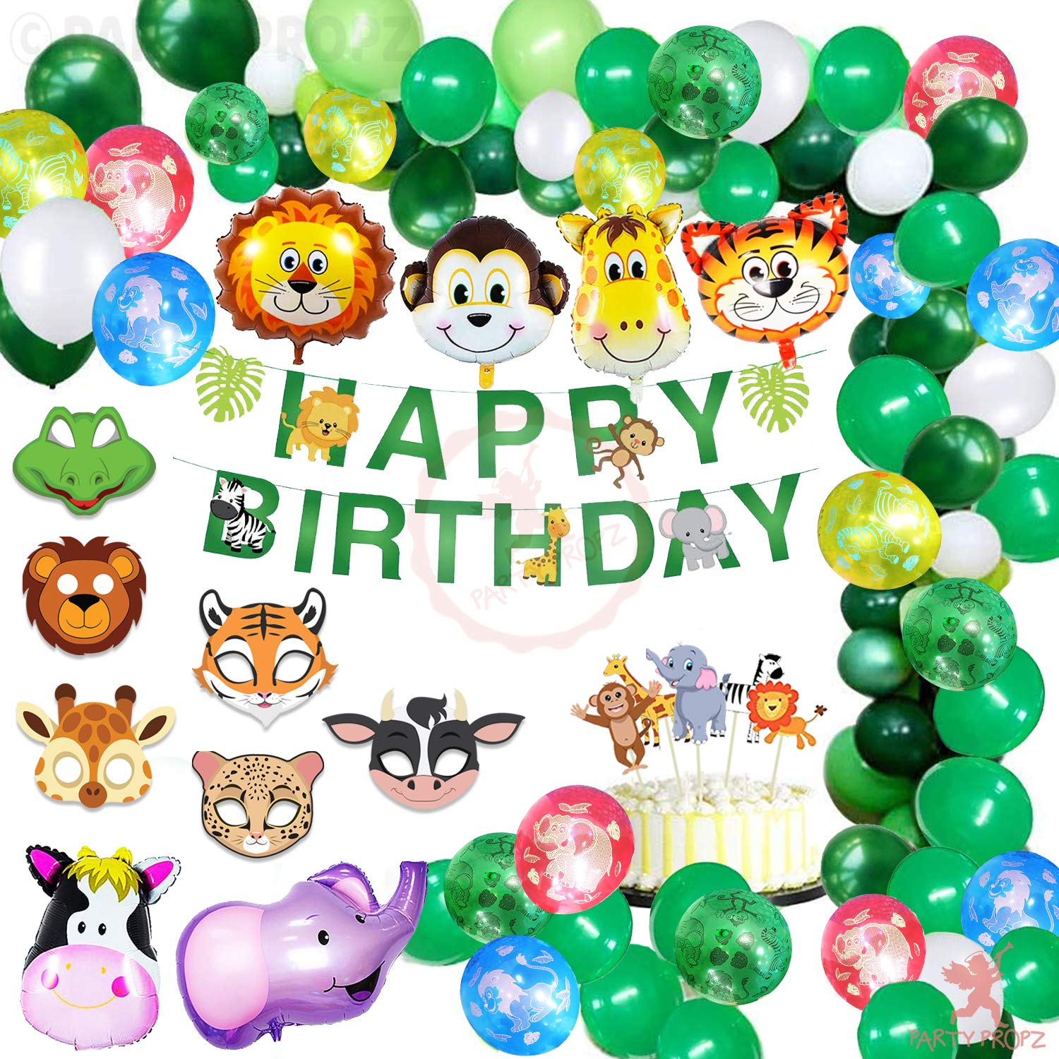 US 29PCS Jungle Animals Balloons Set Latex Foil Balloon Kid Birthday Party Decor