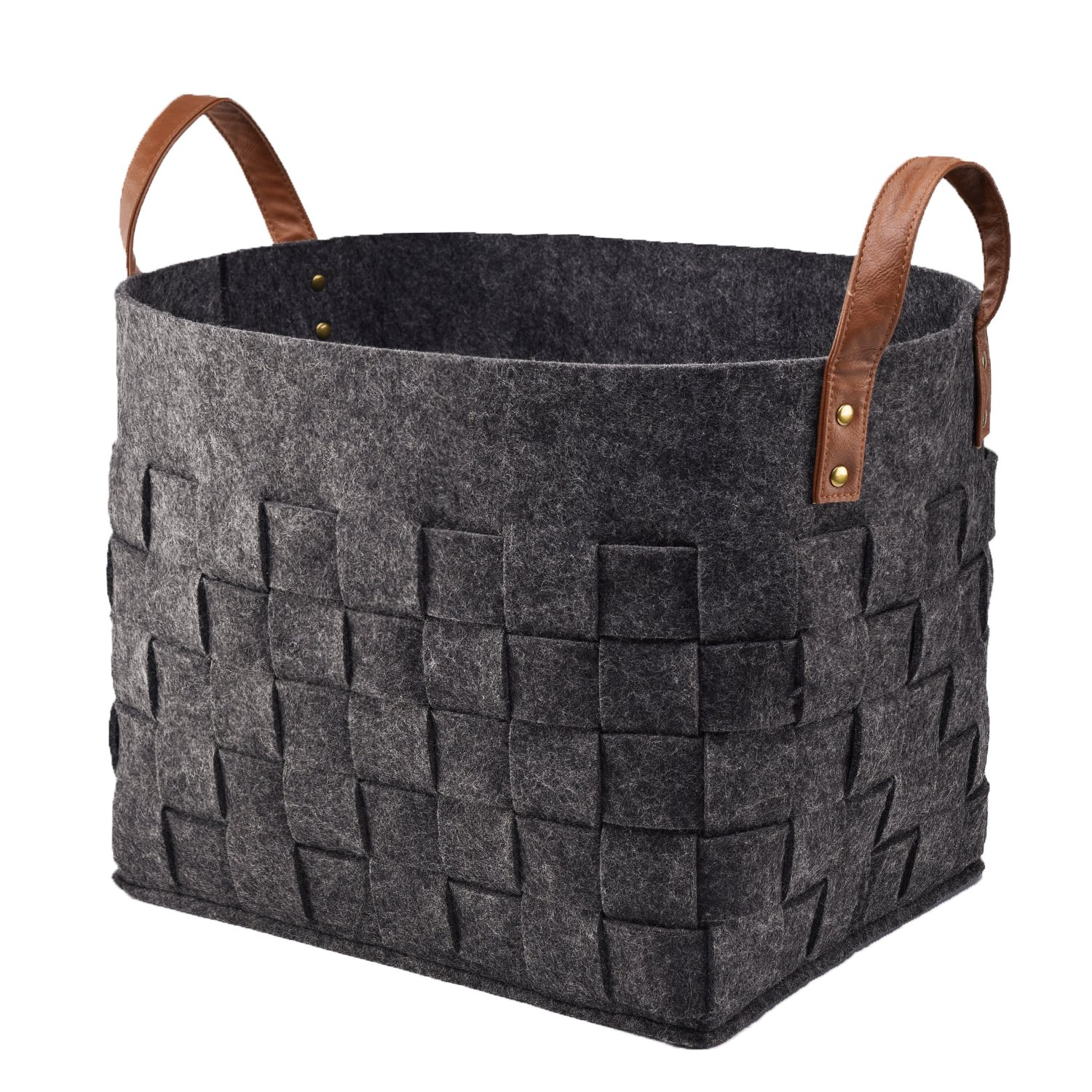 LoongBaby Felt Storage Baskets With Handles Soft Durable Toy Storage Nursery Bins Home Decorations (Black  sc 1 st  Amazon.com & Amazon.com : LoongBaby Felt Storage Baskets With Handles Soft ...