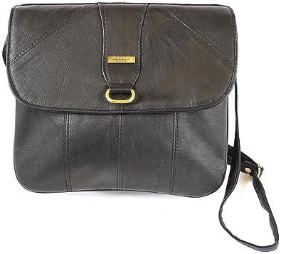 a6f1ceb010 Ladies Super Soft Nappa Leather Shoulder Bag Cross Body Bag (Black ...