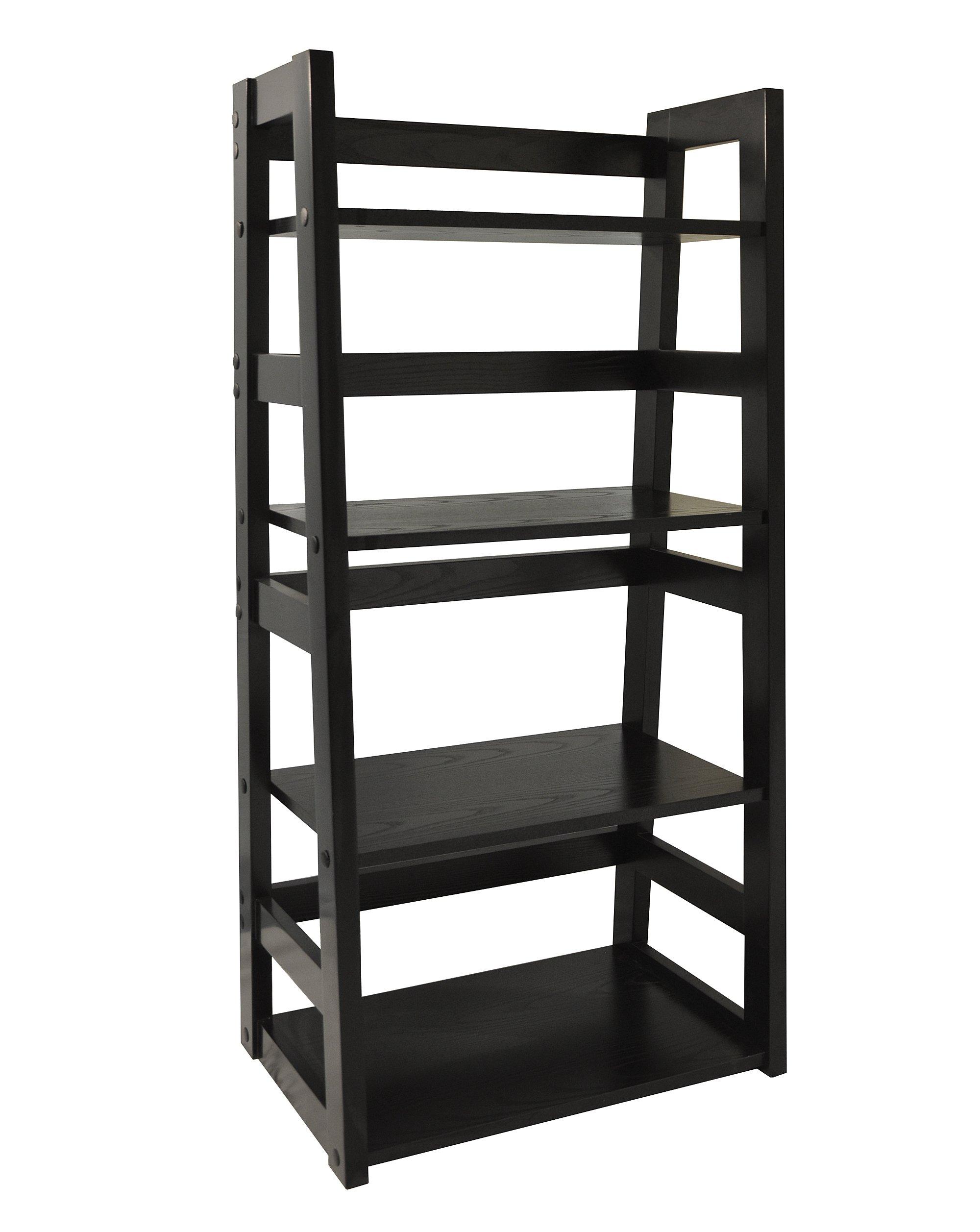 Convenience Concepts Traditional 4-Tier Trestle Bookcase, Black