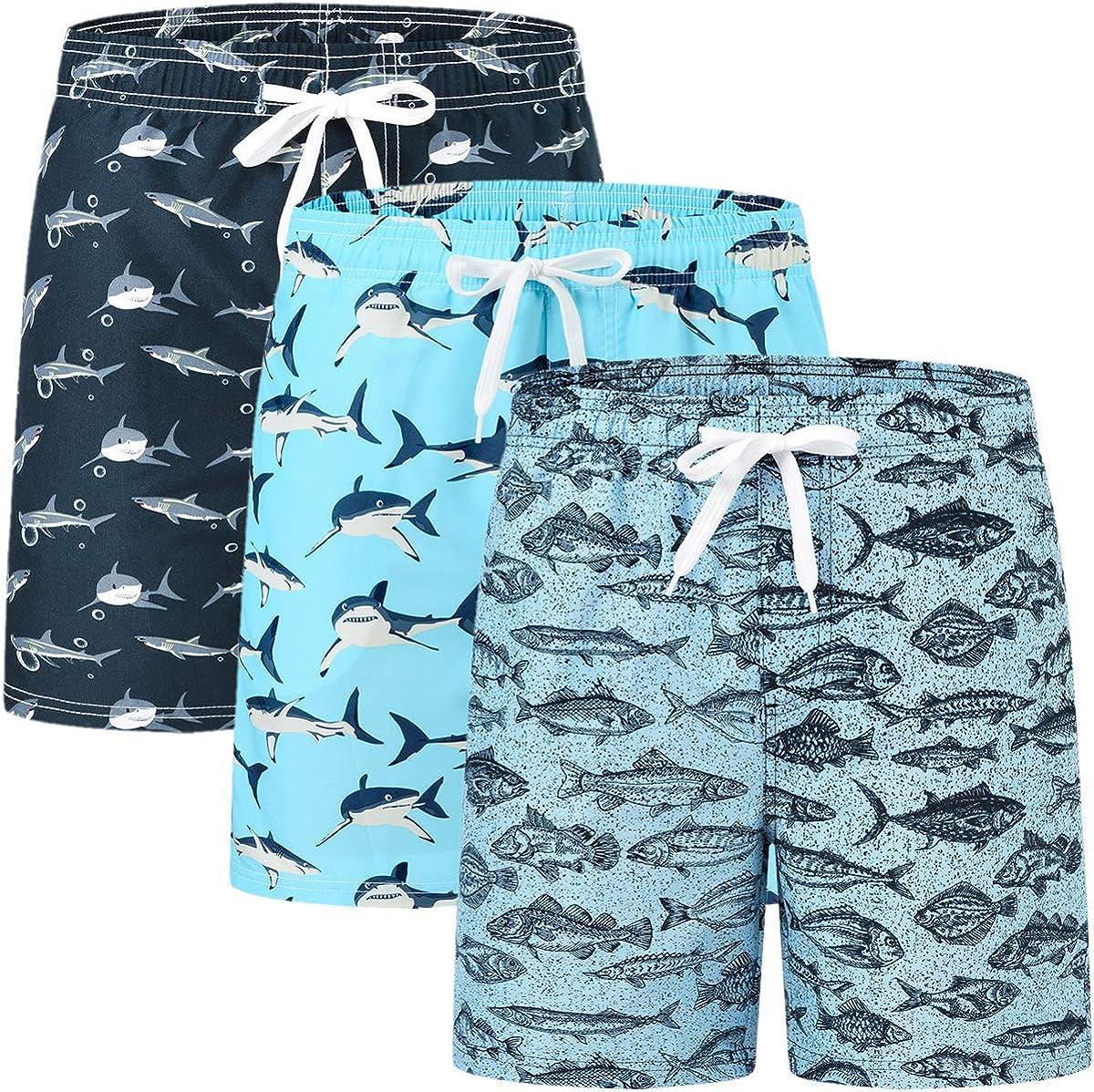 MoFiz Boys Swim Trunks Swimsuit Quick Dry Bathing Suit Swimwear Shorts 2 Pack