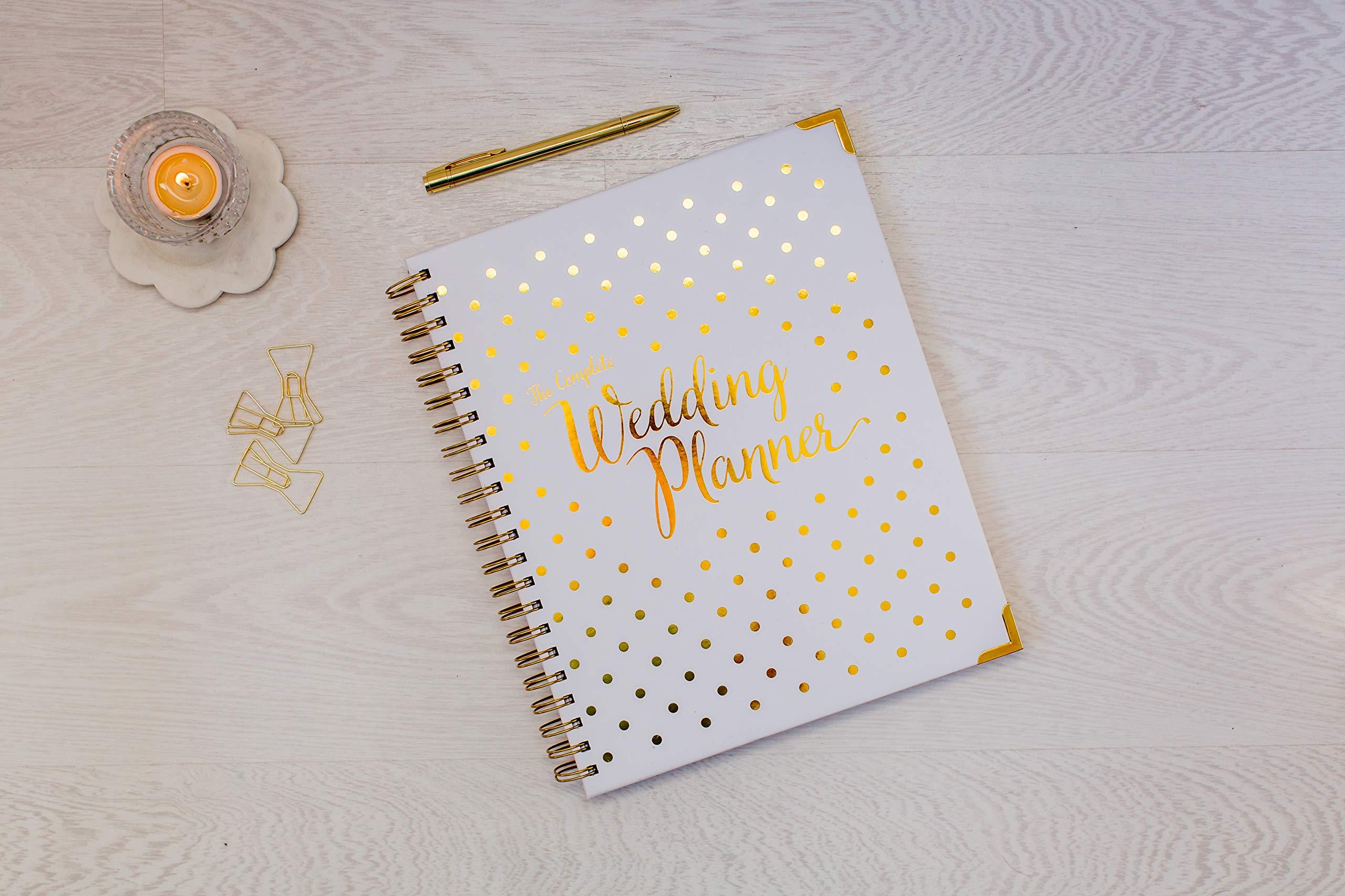 Wedding Planner & Organizer Gold Undated Bridal Diary Book Organizer - Hard Cover, Pockets ...