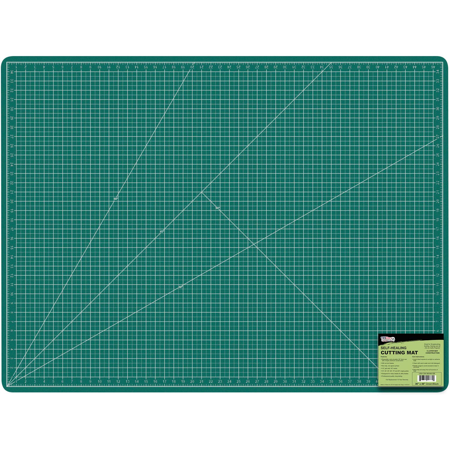 US Art Supply 36'' x 48'' GREEN/BLACK Professional Self Healing 5-Ply Double Sided Durable Non-Slip PVC Cutting Mat Scrapbooking, Quilting, SewingArts & Craft by US Art Supply