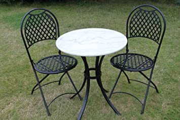 White Marble Top Bistro Table & 2 Chairs Set - Great for the Garden ...