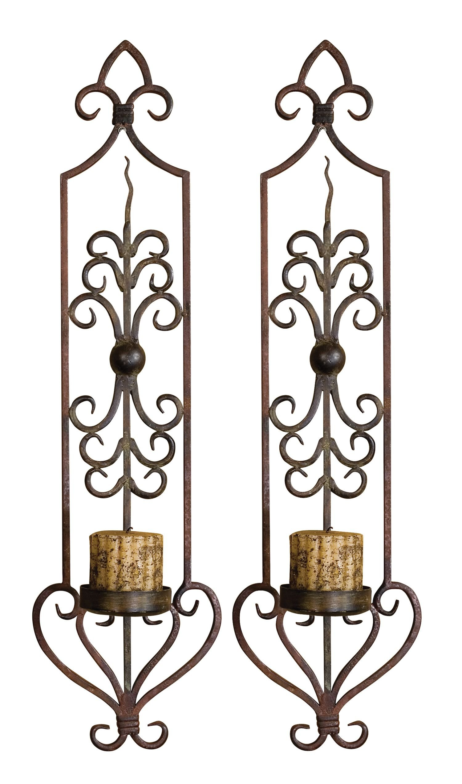 Uttermost 20987 Privas Olive Metal Wall Sconces - Set of 2