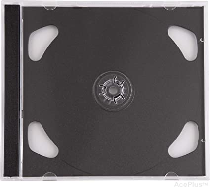 AcePlus 50 Pieces Standard CD Jewel Case Assembled with Black Tray Single