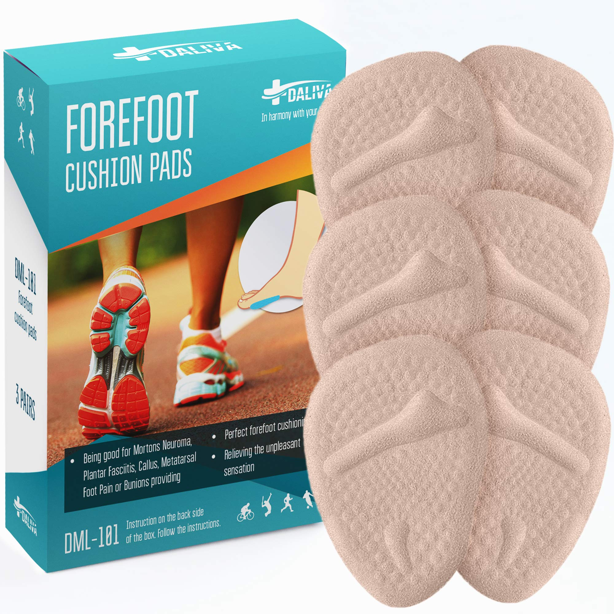 Metatarsal Pads Ball of Foot Cushions (6PCS) - Forefoot Cushions Shoe Inserts for Man & Women - Insoles for Ball of Foot Pain - Pain Relief for Metatarsalgia Morton Neuroma Calluses by DALIVA