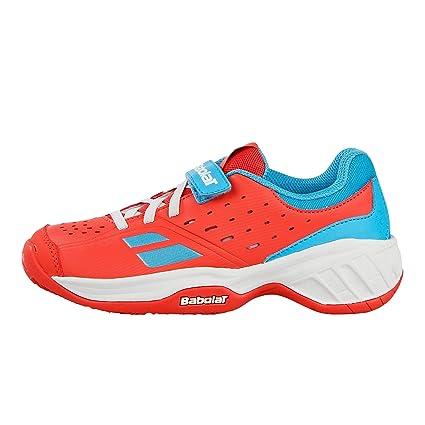 Babolat Niños Pulsion Allcourt Kids Zapatillas De Tenis Zapatilla Todas Las Superficies Naranja - Azul Claro