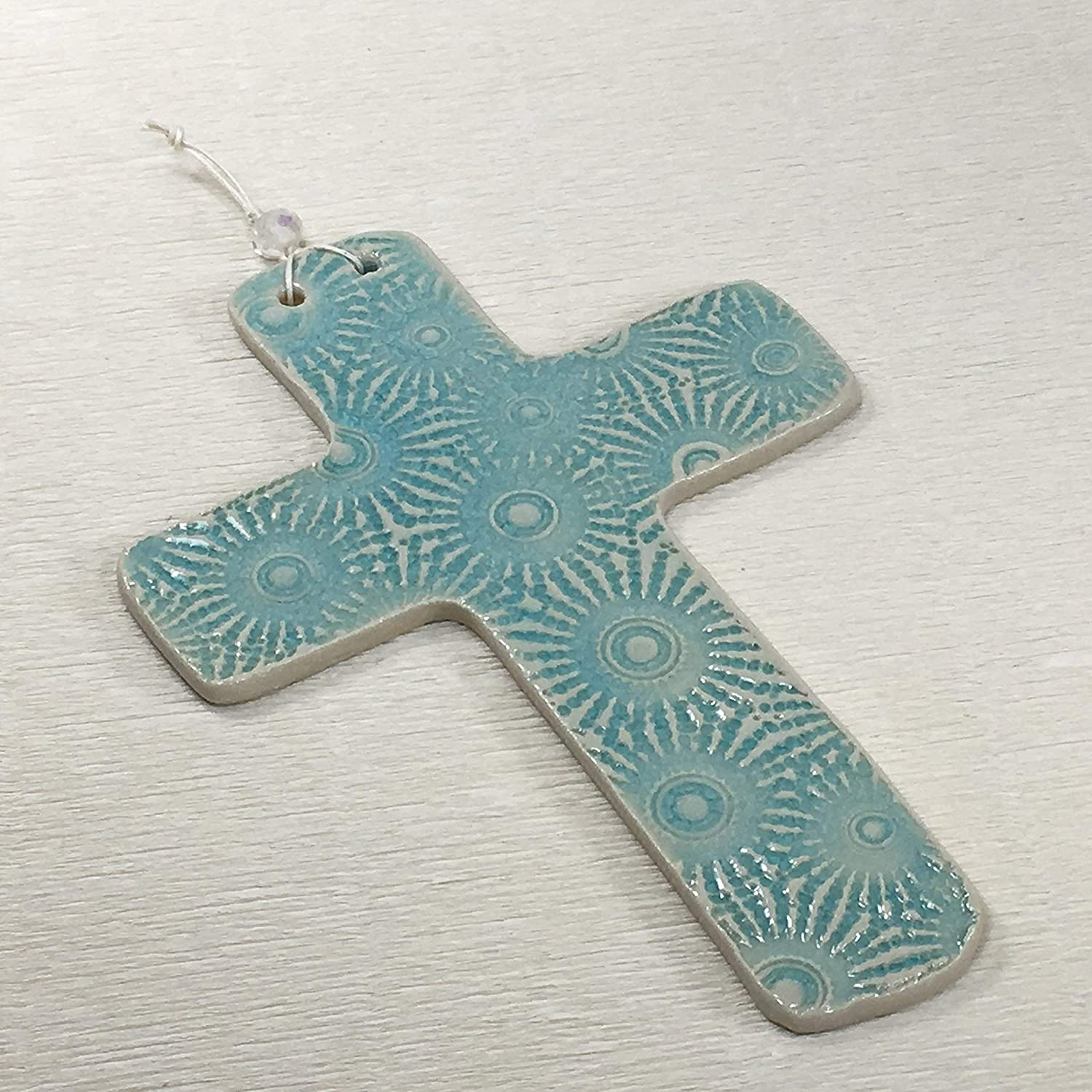 JANECKA Turquoise Wall Hanging Pottery Cross 5 x 7 9th Anniversary Gift