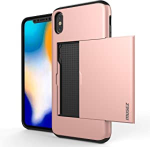 MUSEZ iPhone X Case, iPhone 10 Case, Hybrid iPhone X Wallet Case Card Holder Shell Heavy Duty Protection Shockproof Anti Scratch Soft Rubber Bumper Cover Case for iPhone X 5.8 inch (Rose Gold)