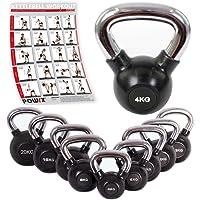 POWRX Kettlebell inkl. Workout | 4-20 kg | gummiert | verchromter Griff | Kugelhantel | Handgewicht Ideal für Fitness Kraft Training