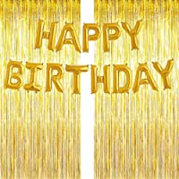 3-Pack Birthday Party Decoration: 2-Pack 3-Feet x 6.6-Feet Metallic Tinsel Foil Fringe Curtain & 1-Pack 16