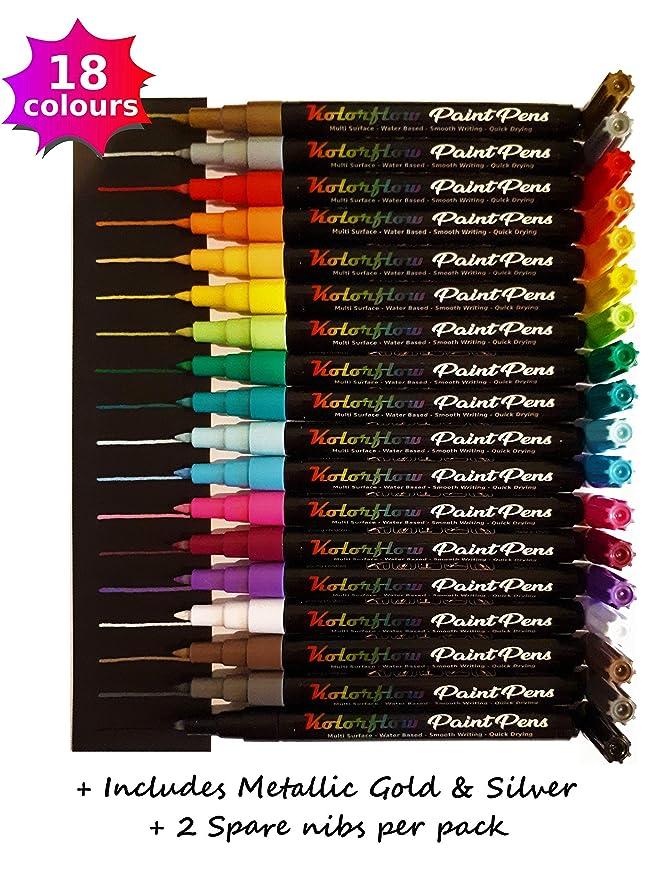 Kolorflow - Bolígrafos de pintura acrílica, 18 colores (con ...