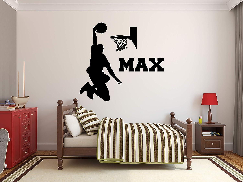 "Custom Basketball Name Wall Decal - Basketball Room Decor - Nursery Wall Decals - Basketball Net Mural Wall Vinyl Sticker (32"" x 28"")"