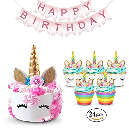 Unicorn Cake Topper Rainbow Cupcake Wrappers Kit Set Includes Horn Ears Eyelashes