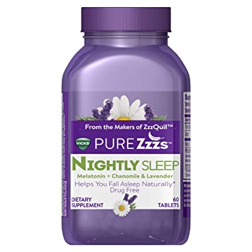 Vicks Pure Zzzs Nightly Sleep Melatonin Sleep Aid Tablets with Chamomile, Lavender and Valerian Root
