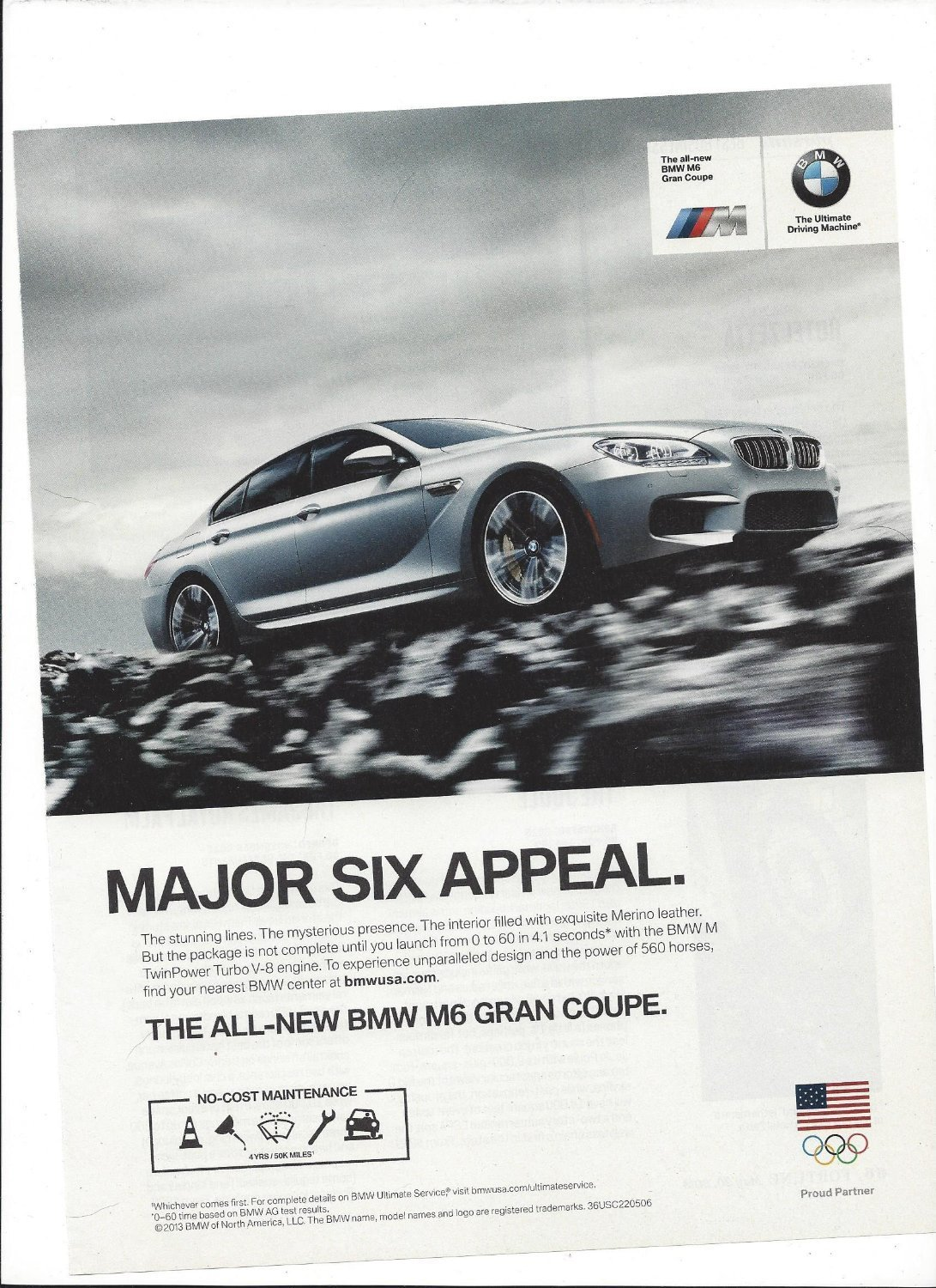 Amazon.com: MAGAZINE ADVERTISEMENT For BMW Silver 2013 M6 Gran Coupe Major Six Appeal: Entertainment Collectibles