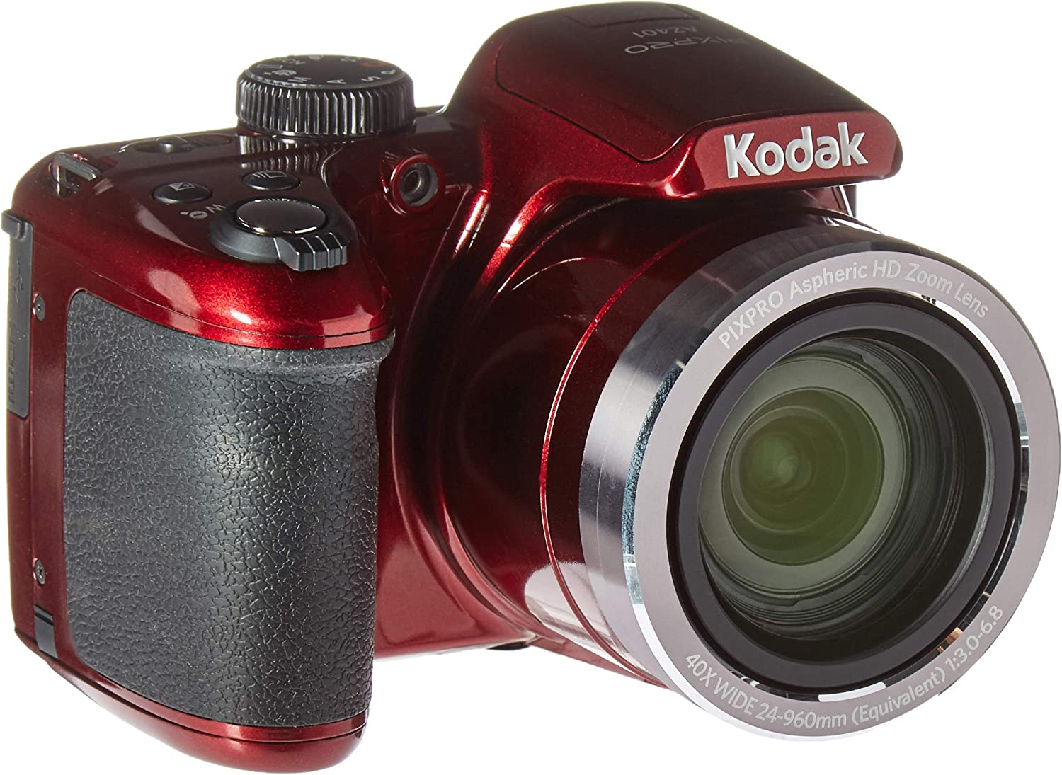 "Kodak AZ401RD Point & Shoot Digital Camera with 3"" LCD, Red"