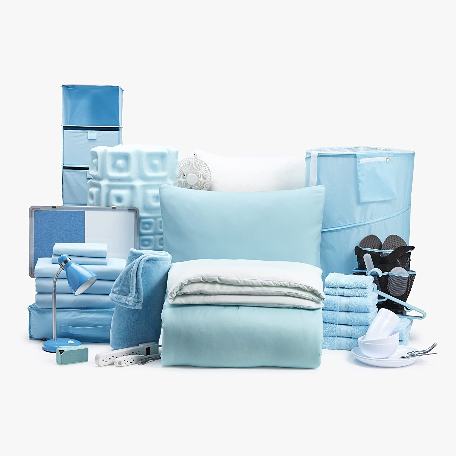 60pc Doin' It Big- Twin XL College Dorm Room Bedding (Ombrelievable/Light Blue)