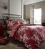 Catherine Lansfield Canterbury spazzolato a quadri set Copripiumino Matrimoniale, rosso scuro, doppio, Cotone, Dark Red, King