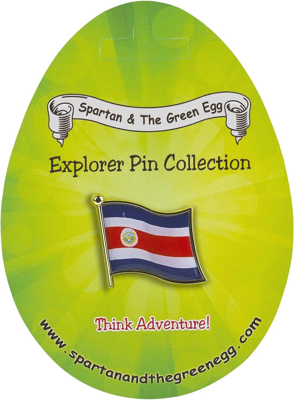 Costa Rica Flag Spartan and the Green Egg Explorer Flag Pin 48