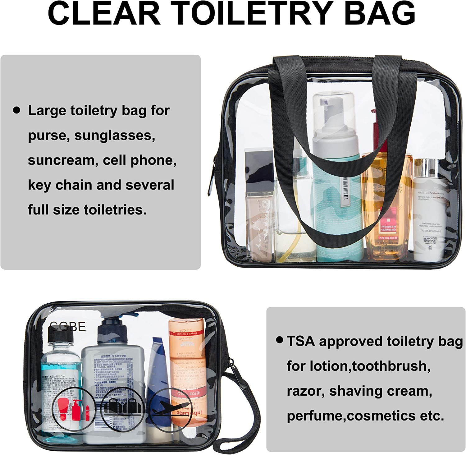 CGBE Packing Cubes for Travel Luggage Packing Organizer Accessories with Clear Toiletry Bags 7 Set