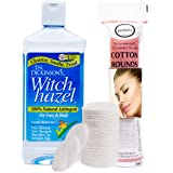 T.N. Dickinson's 16 oz. Witch Hazel 100% Natural Astringent with 100 Pcs. Cotton Rounds