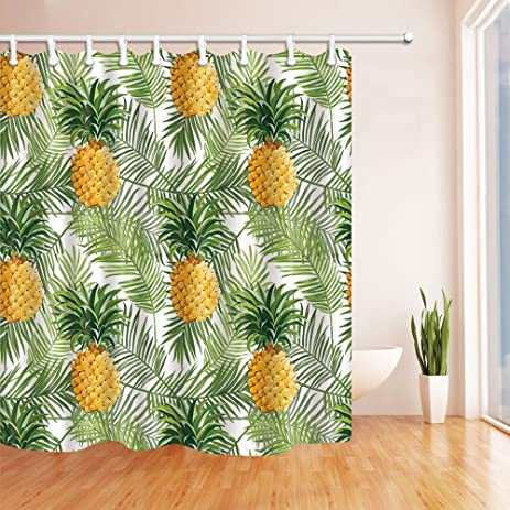 NYMB Tropical Fruit Decor Pineapple Palm Leaves Shower Curtain 69X70 Inches  Mildew Resistant Polyester Fabric Bathroom
