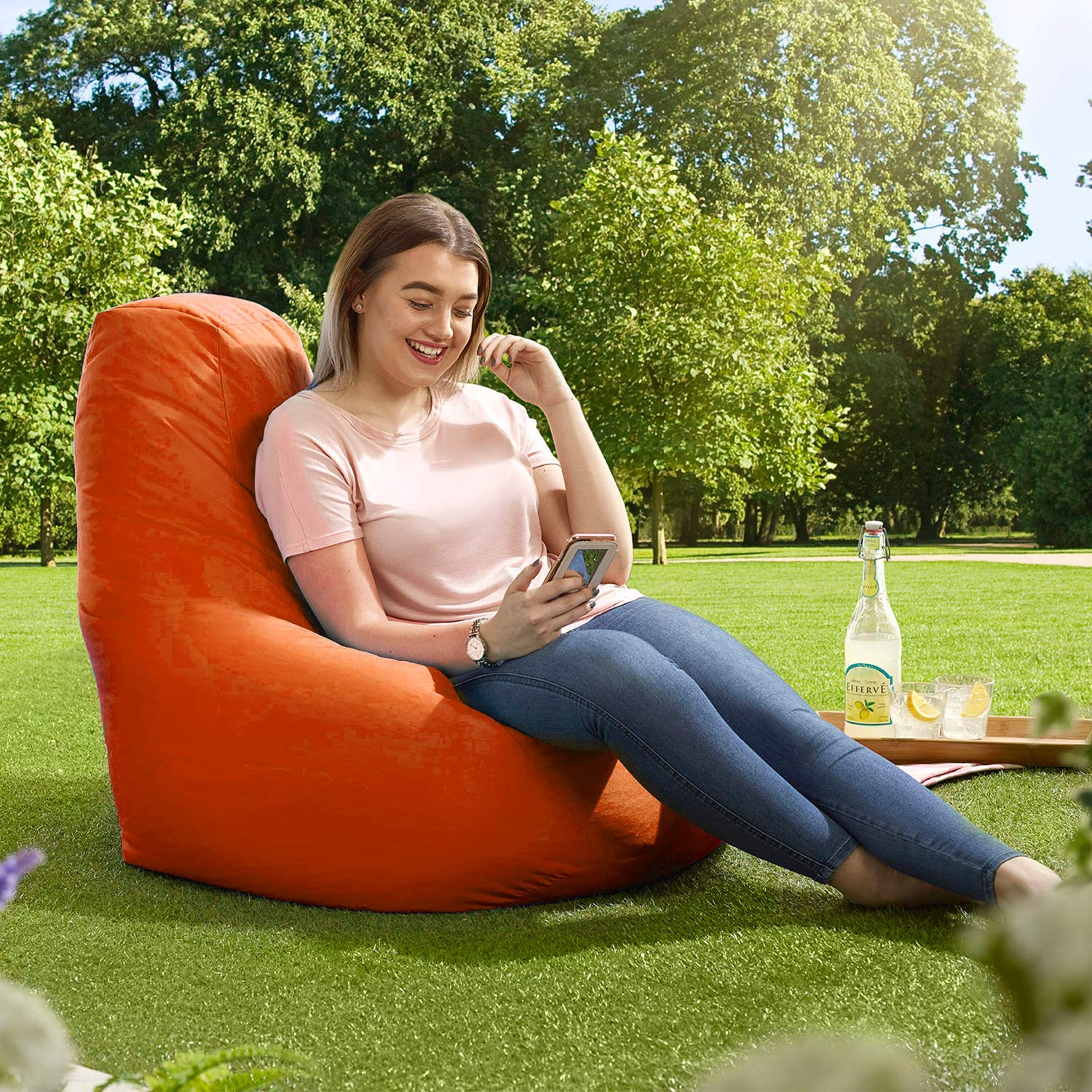 Adult Highback Beanbag Aqua Manufactured in UK Water Resistant-  Perfect Lounge or Gaming Chair Large Bean Bag Chair for Indoor and Outdoor Use Beautiful Beanbags Home or Garden Bean Bag