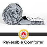 Divine Casa Microfibre Comforter/Blanket/Quilt/Duvet Lightweight, All Weather Single Comforter, Grey and Black - Abstract (110 GSM)