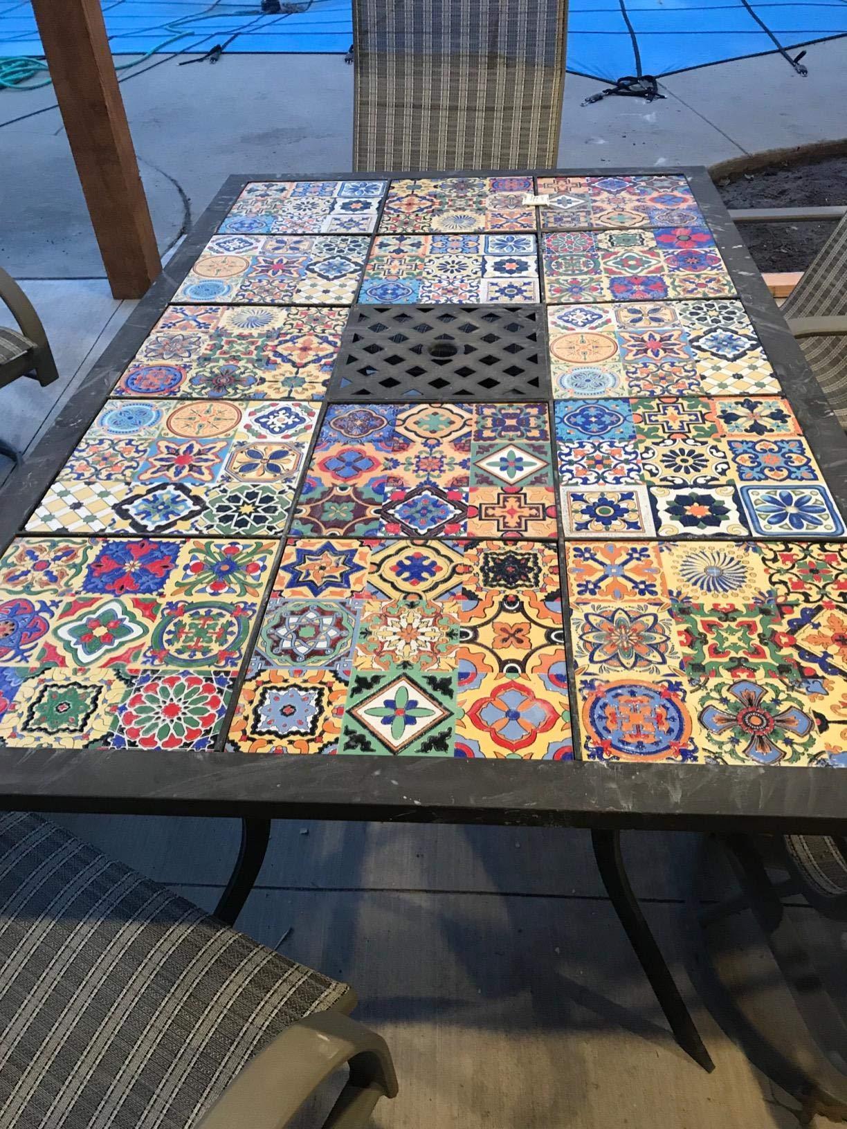 Art3d 6 Sq. Ft Decorative Tiles, Spanish Mediterranean Decor, Hand Painted Talavera Mexican Tiles by Art3d