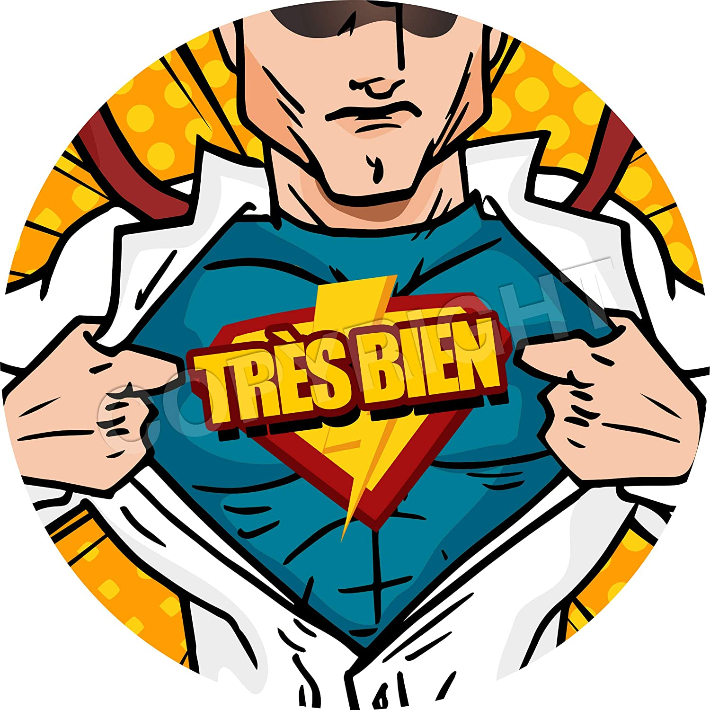 Kids Parents 280 Stickers @ 25mm Comic Superhero Motivational French Lessons Reward Stickers Teachers