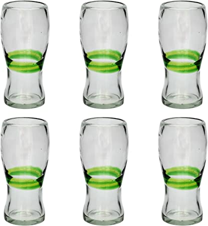 Vaso Cervecero (Pinta) Artesanal – Vidrio Reciclado – Verde Mezclado - Juego de 6: Amazon.es: Hogar