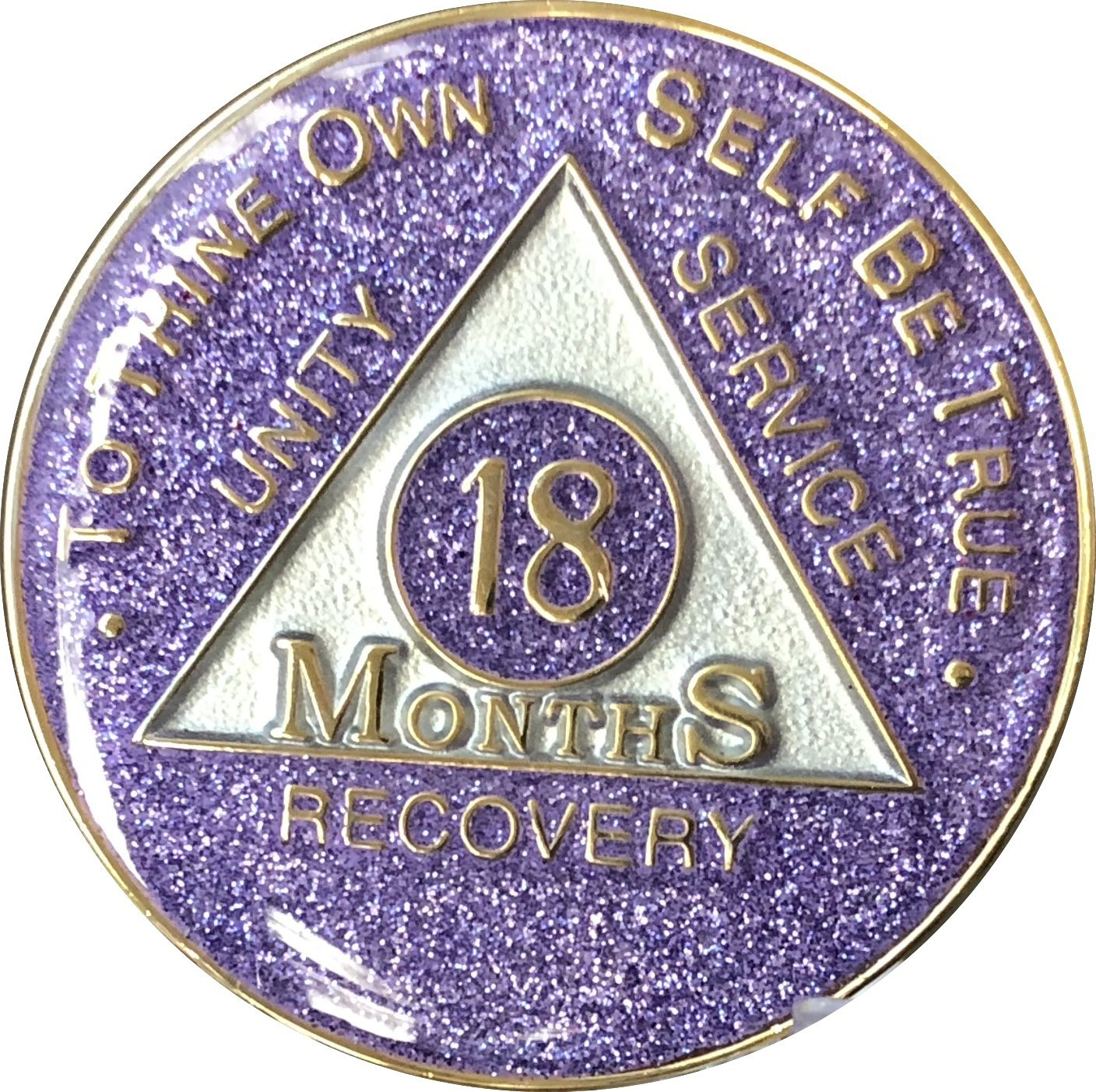18 Month AA Medallion Purple Glitter Tri-Plate Chip