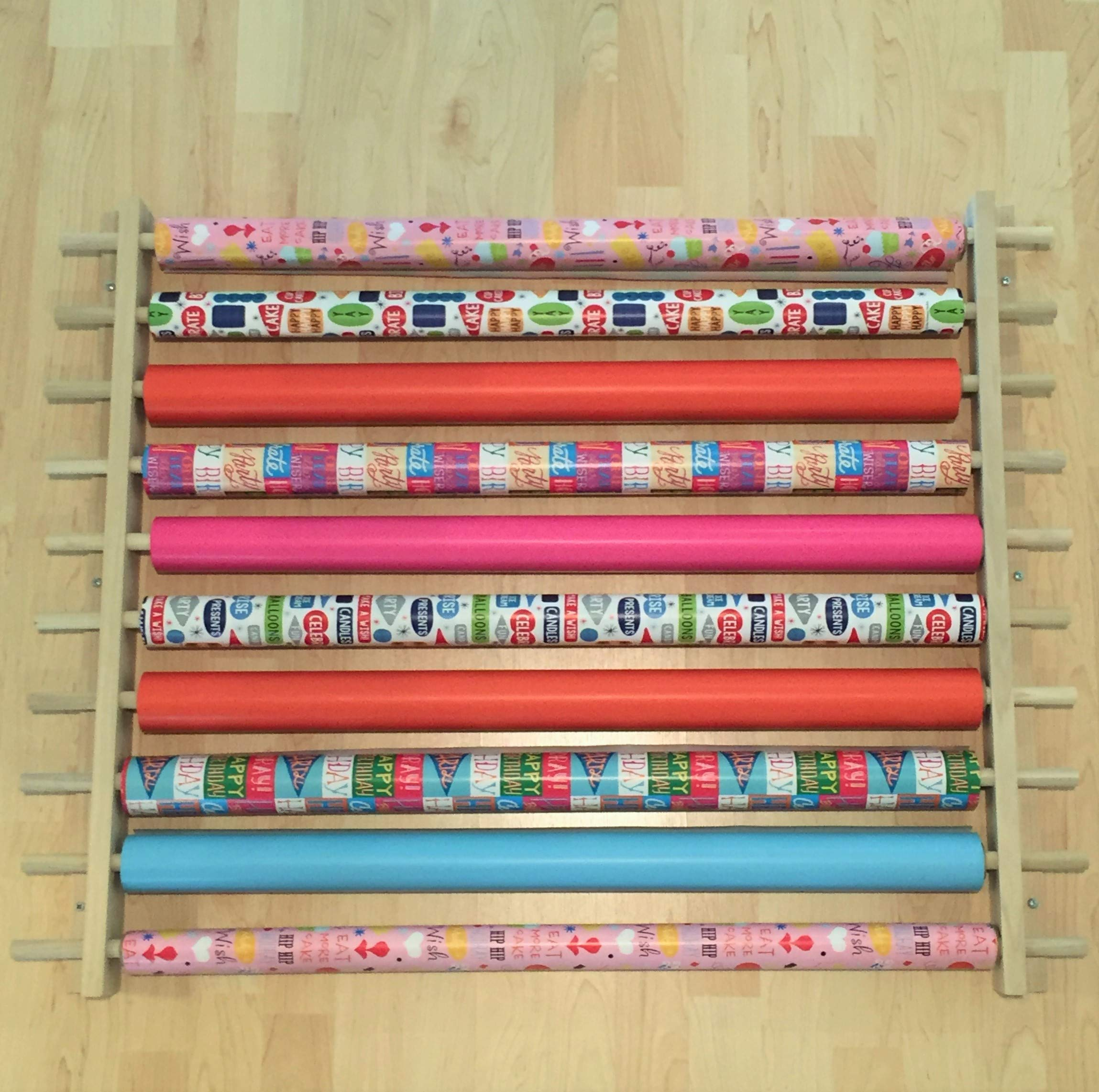 Gift Wrapping Paper Station/Organizer/Dispensing Rack. Ribbons, Cellophane or Any Other Gift Wrap or Crafts Items on a Roll. Holds 10 Rows. Adjustable Width. Easy Wall Mount. Hardware Included. by Z-Things