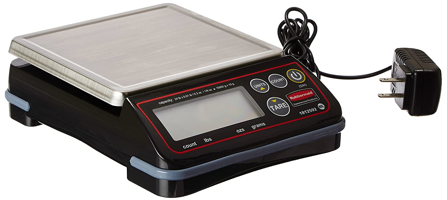 Rubbermaid Commercial Products 1812592 Full-Size Digital Scale for Foodservice Portion Control, 24 lb
