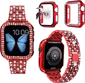 JOHIPI Compatible with Apple Watch Band 38mm 40mm 42mm 44mm with Case, Bling Diamond Metal Strap with Diamond Case and Glass Screen Protector Cover for iWatch Series 6 5 4 3 2 1 SE (Red, 40mm)
