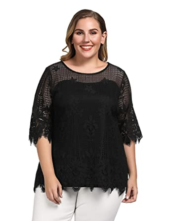 1ae22789f59 Chicwe Women's Plus Size Lined Floral Lace Top - Causal Tunic Top Black 1X