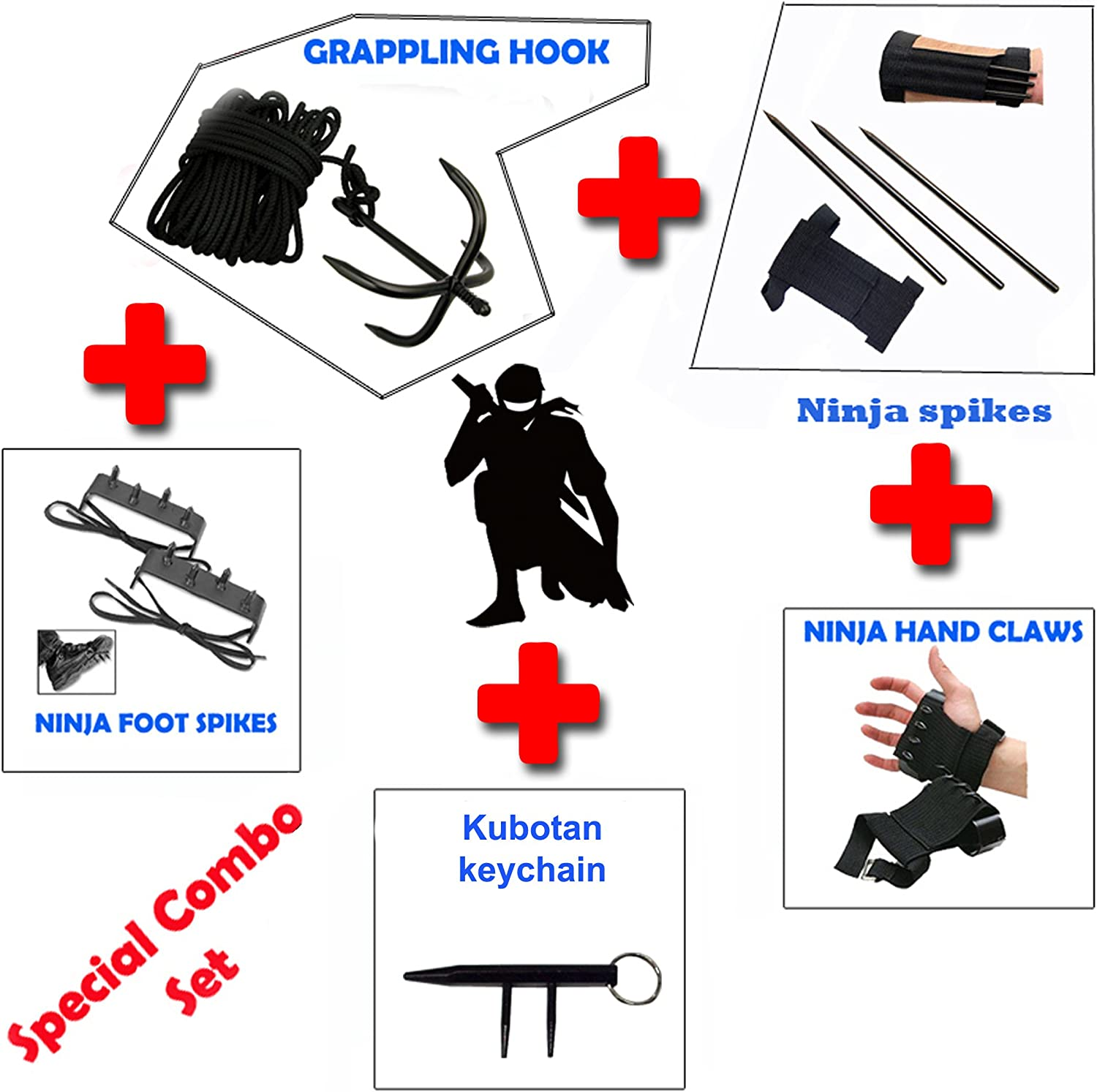 NINJA Special Combo Grappling Hook,Hand claws,Foot Spike, & KUNAI SPIKES THROWING KNIFE