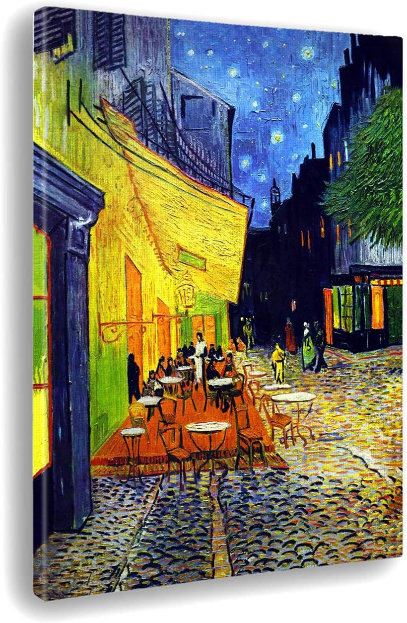 Giallobus - Cuadro - Impresion EN Lienzo - Vincent Van Gogh - TERRAZA DE UN CAFÉ' por LA Noche - 100 x 140 CM
