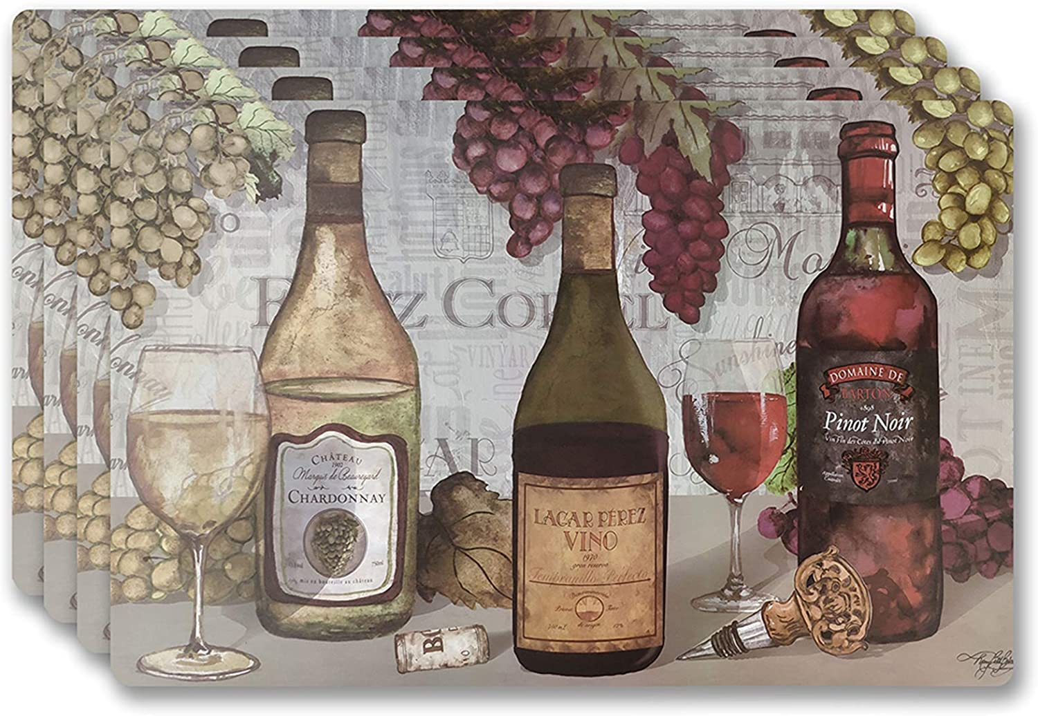 Popular Home Placements Set of 4, Wine Trio