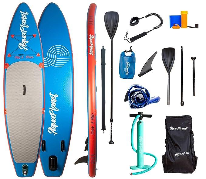 Aquaplanet PACE Kit completo para SUP (tabla de 3,2 x 76 cm x 15 cm). con bomba de aire, pala, mochila, correa para la pierna, bolsa de surf impermeable, ...