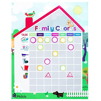 amazon com magnetic chore chart for use with multiple kids weekly