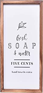Farmhouse Bathroom Decor - Modern Rustic Wall Art Home Decor - Free Soap and Water - Cute and Funny Solid Wood Framed Printed Sign for Bath, Toilet, Restroom, Half Bath, Decoration - 8x17 Inches