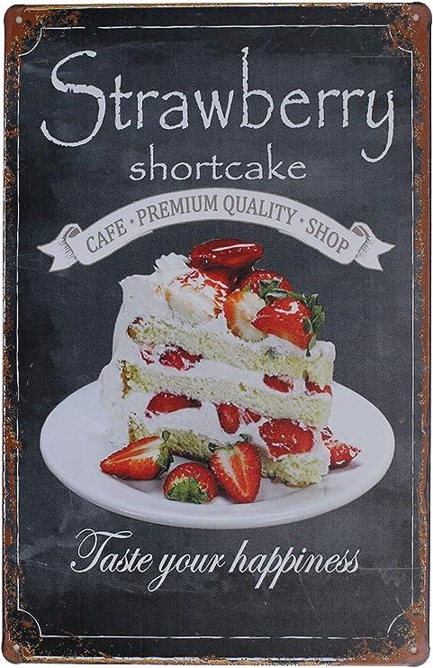 Amazon Com Sumik Strawberry Shortcake Taste Your Happiness Metal Tin Sign Vintage Art Poster Plaque Kitchen Home Wall Decor