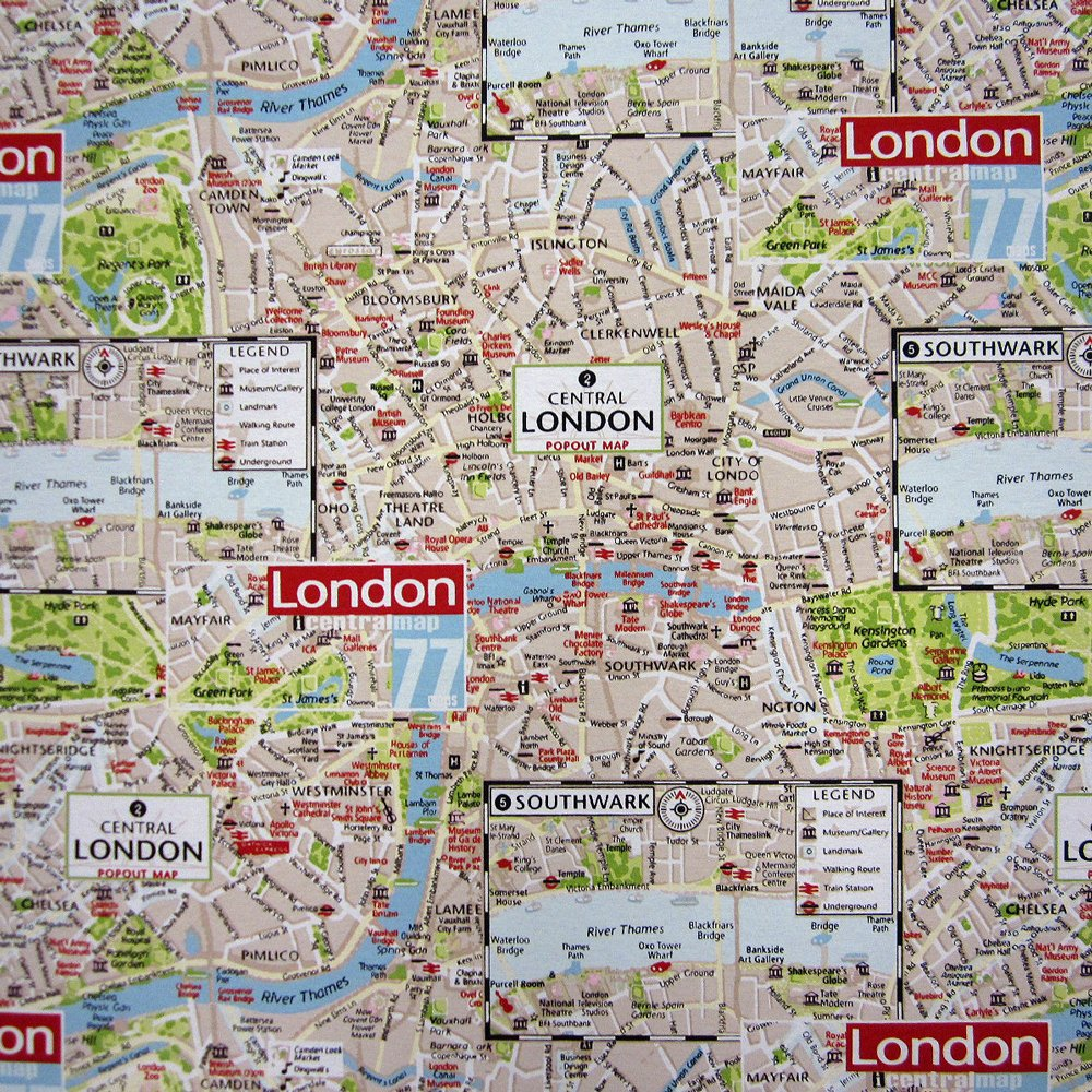 Stoff Meterware Stadtplan London Map bunt Karte Dekostoff Neu ...