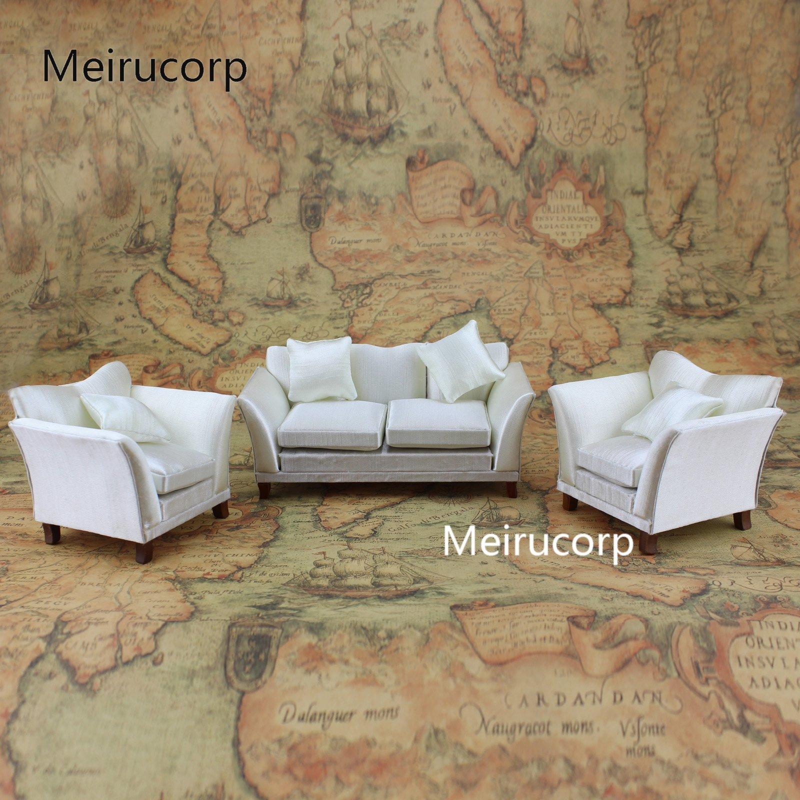 Meirucorp Dollhouse 1/12th Miniature Furniture Fabric Sofa and Chairs 3pcs Set