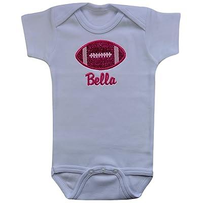 Funny Girl Designs Baby Girls Football Glitter Onesie Bodysuit