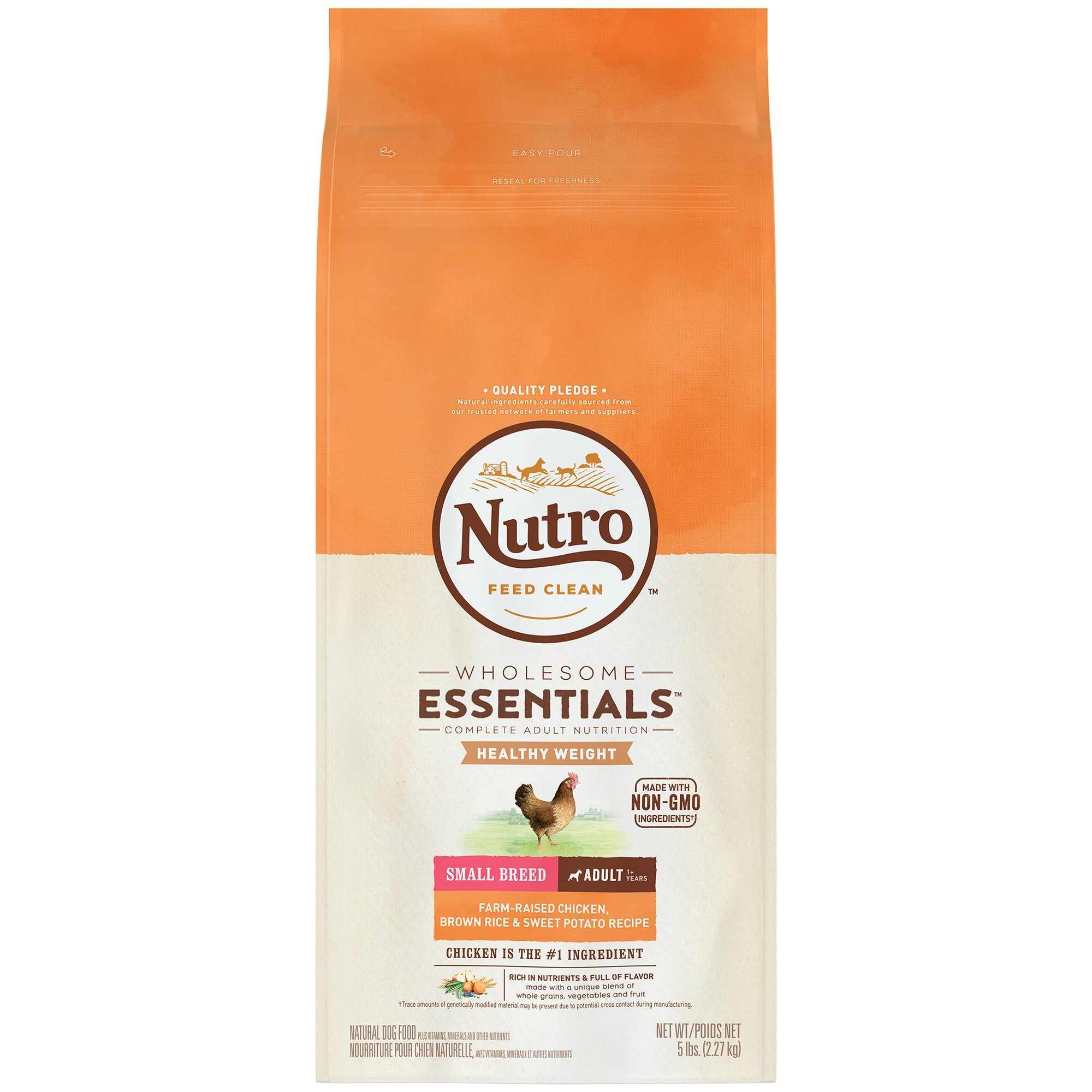 Nutro Wholesome Essentials Healthy Weight Adult Small Breed Dry Dog Food Farm-Raised Chicken, Brown Rice & Sweet Potato Recipe, 5 lb. Bag