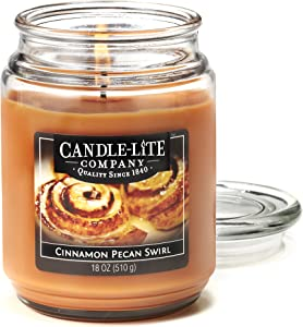 CANDLE-LITE Everyday Scented Cinnamon Pecan Swirl Single Wick 18oz Large Glass Jar Candle, Edible Gourmand Fragrance, 18 oz